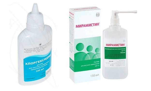 Для обработки чаще всего применяют Хлоргексидин, Мирамистин