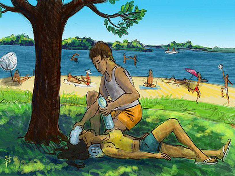 Первым делом перенесите пострадавшего в тень и обеспечьте его питьевой водой